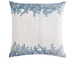 Kevin O'Brien Studio pillow white with blue ferns